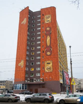 World's largest 3d painting - Karelia Business Hotel, St Petersburg, Russia